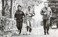 Ирина Подъяловская (в центре) и ее тренеры С. Стыркина и Я. Ельянов