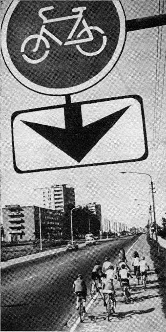 Велосипедная дорожка проложенная вдоль магистрали города