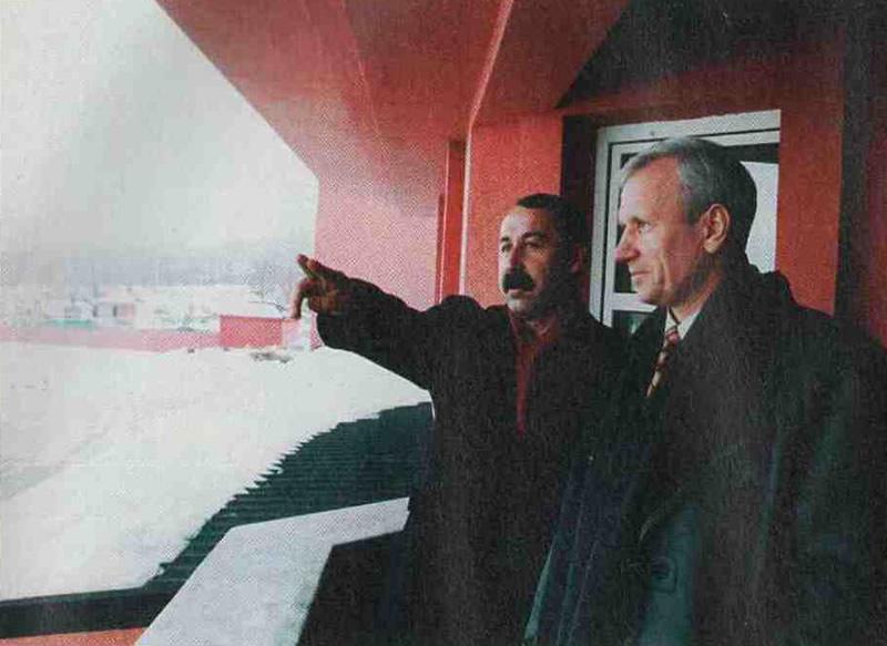 Вячеслав Колосков и Валерий Газзаев на реконструкции футбольного комплекса во Владикавказе