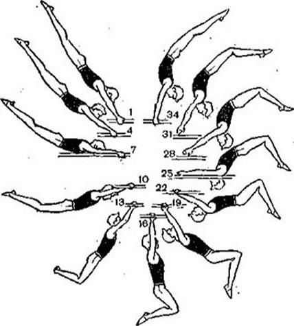 Рис. 1. Контурограмма большого оборота назад на брусьях (исполнитель К. Гусикен)