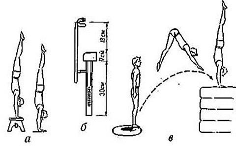 гимнастической скамейке;
